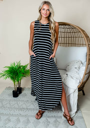 Black striped maxi dress with side slit for women.