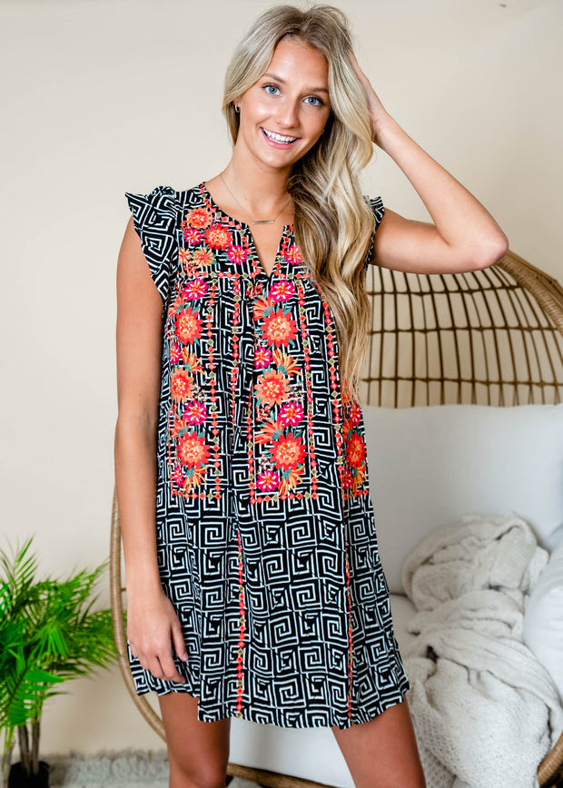 Black white shift dress with floral embroidery Summer outfit.  Geometric print dress for Summer.