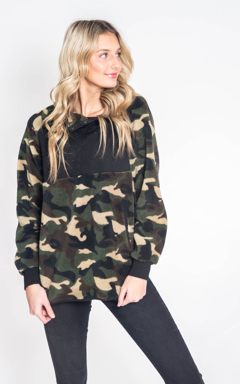 Camo Sherpa Pullover Top- Final Sale, CLOTHING, White Birch, BAD HABIT BOUTIQUE