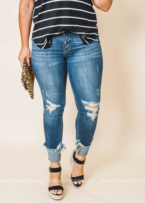 Cuffed Skinny Jean - Judy Blue, CLOTHING, JUDY BLUE, BAD HABIT BOUTIQUE