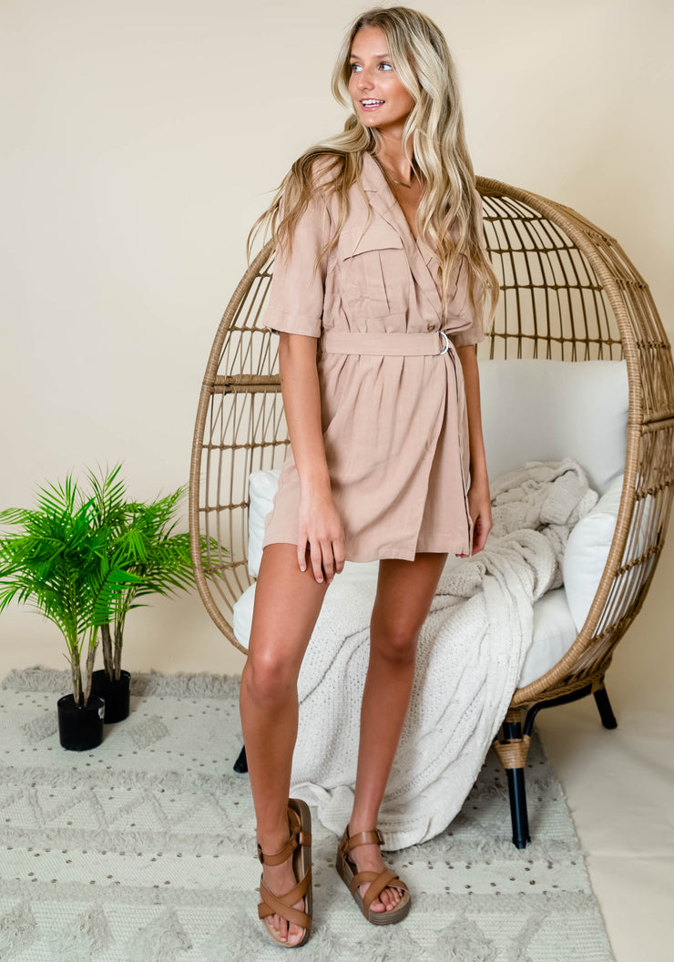 Taupe wrap utility dress with belted waist.  Linen short dress for summer.