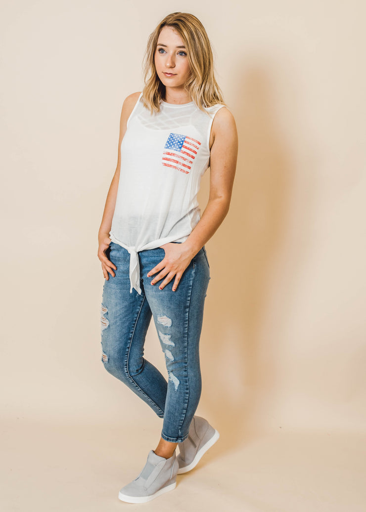 whtie flag tank with tie front and cutout shoulders
