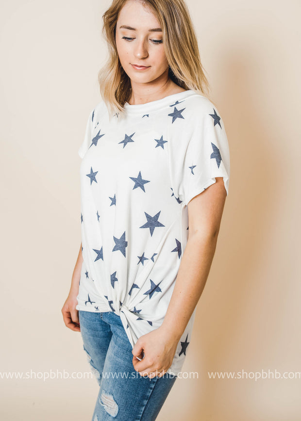 Navy Stars Boatneck Twist Ivory Top