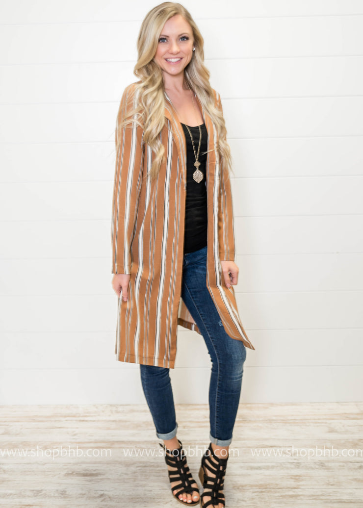 Stylishly Me Blazer- Mocha Striped - FINAL SALE