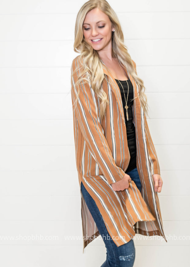 Stylishly Me Blazer- Mocha Striped