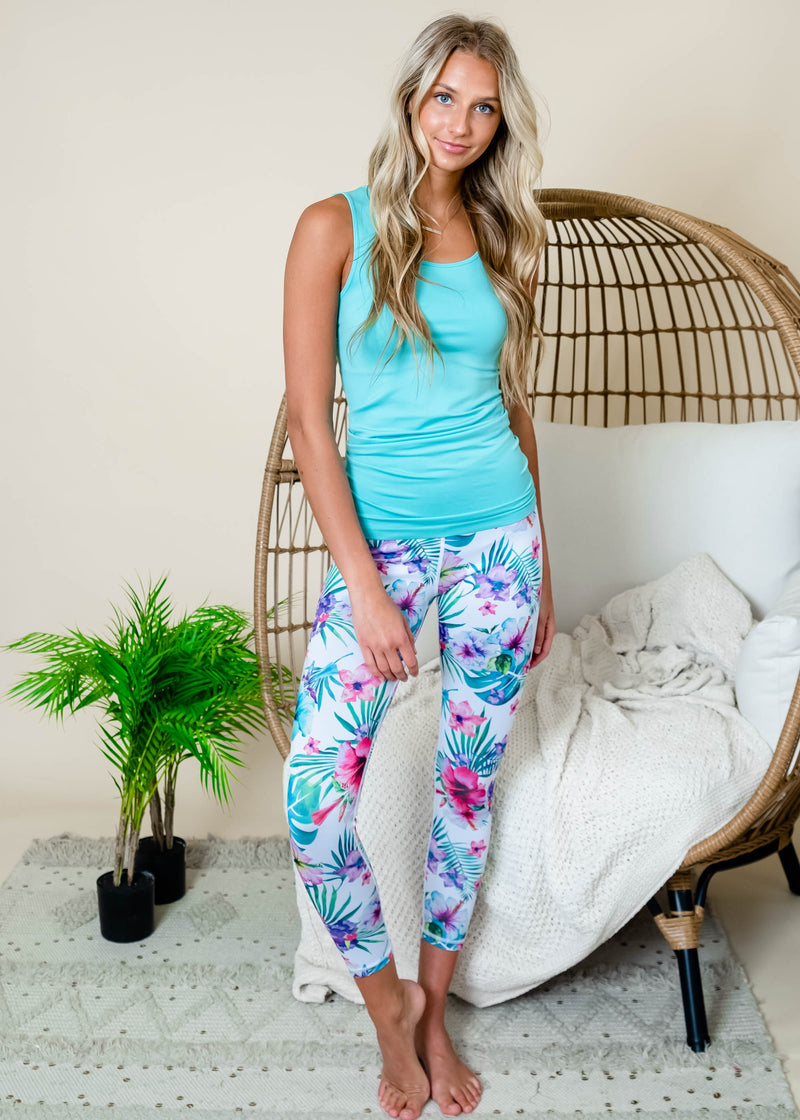 Active High Rise Tropical Floral Printed Leggings | FINAL SALE, CLOTHING, Yelete, BAD HABIT BOUTIQUE