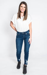 Mid Rise Distressed Hem Crop Skinny Jean {VERVET}, CLOTHING, VERVET, BAD HABIT BOUTIQUE