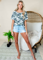 Camo scoop neck t-shirt perfect paired with summer shorts.