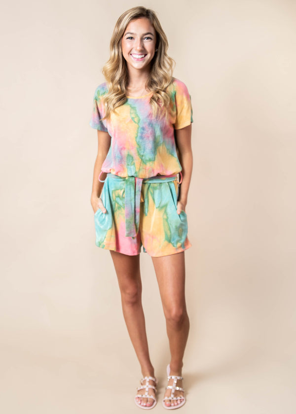 Belted Tie Dye Romper | FINAL SALE, CLOTHING, HEMISIH, BAD HABIT BOUTIQUE
