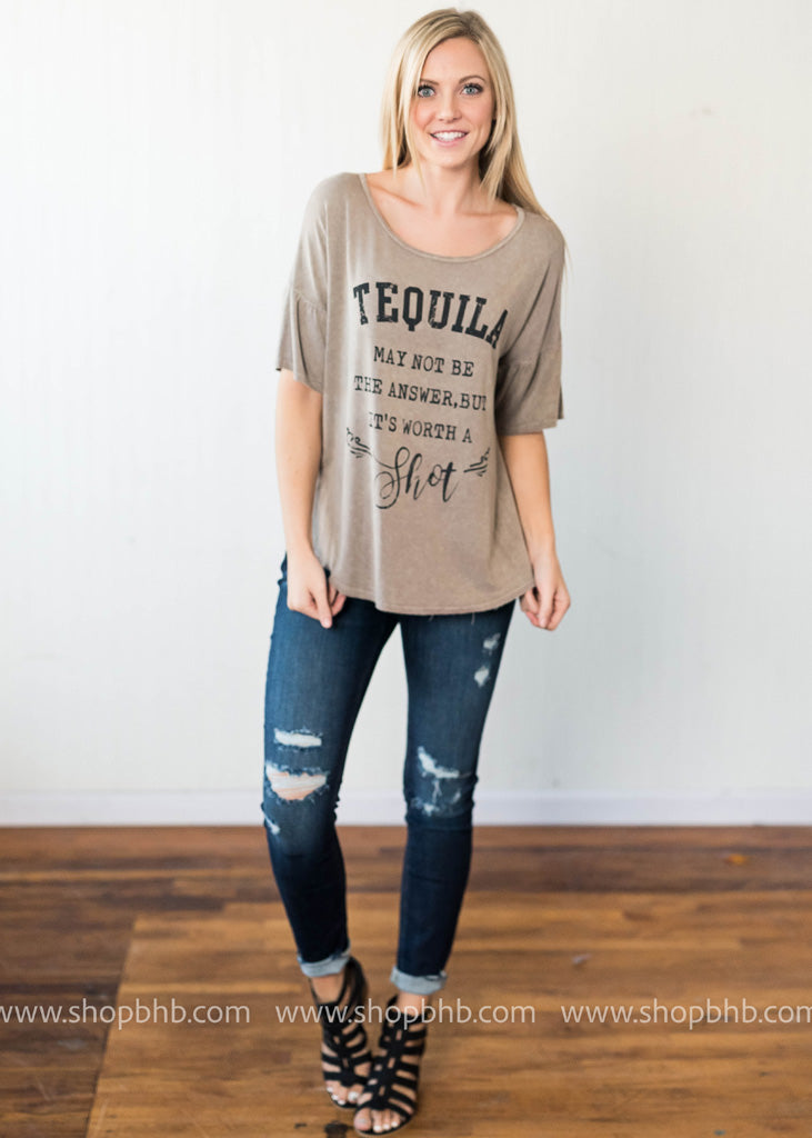 Pair your Tequila Talking Tshirt with some distressed denim.