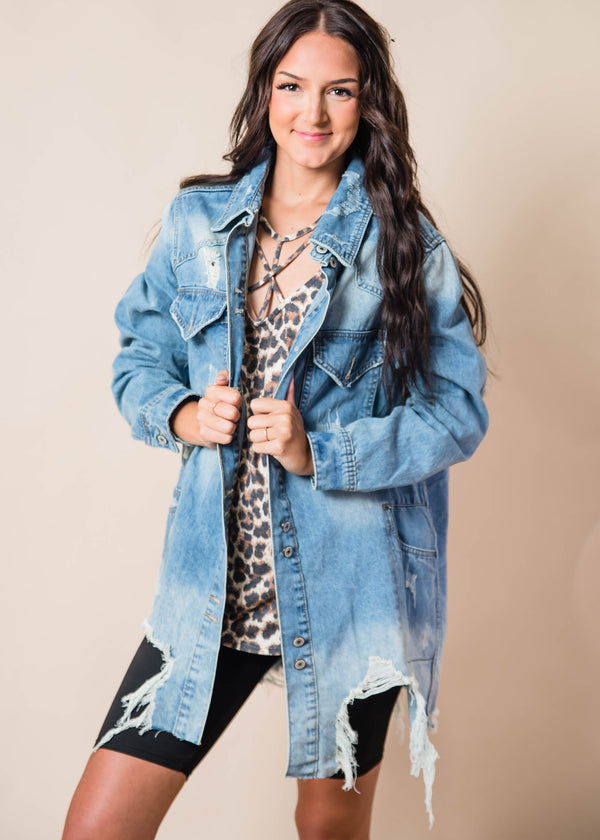Long Distressed Denim Jacket, CLOTHING, VERVERET, BAD HABIT BOUTIQUE