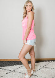 Life is better poolside pink tank fashioned with distressed denim cutoffs.