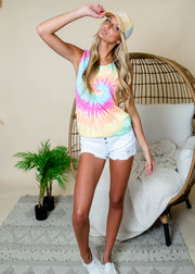 Multicolor tie dye muscle tank perfect for summer outfits.