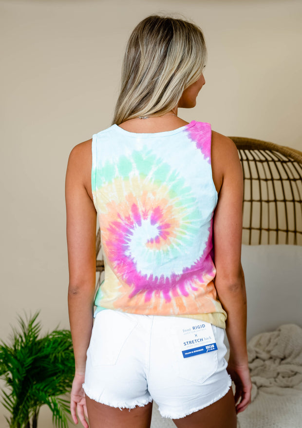 Tie dye tank top for women.