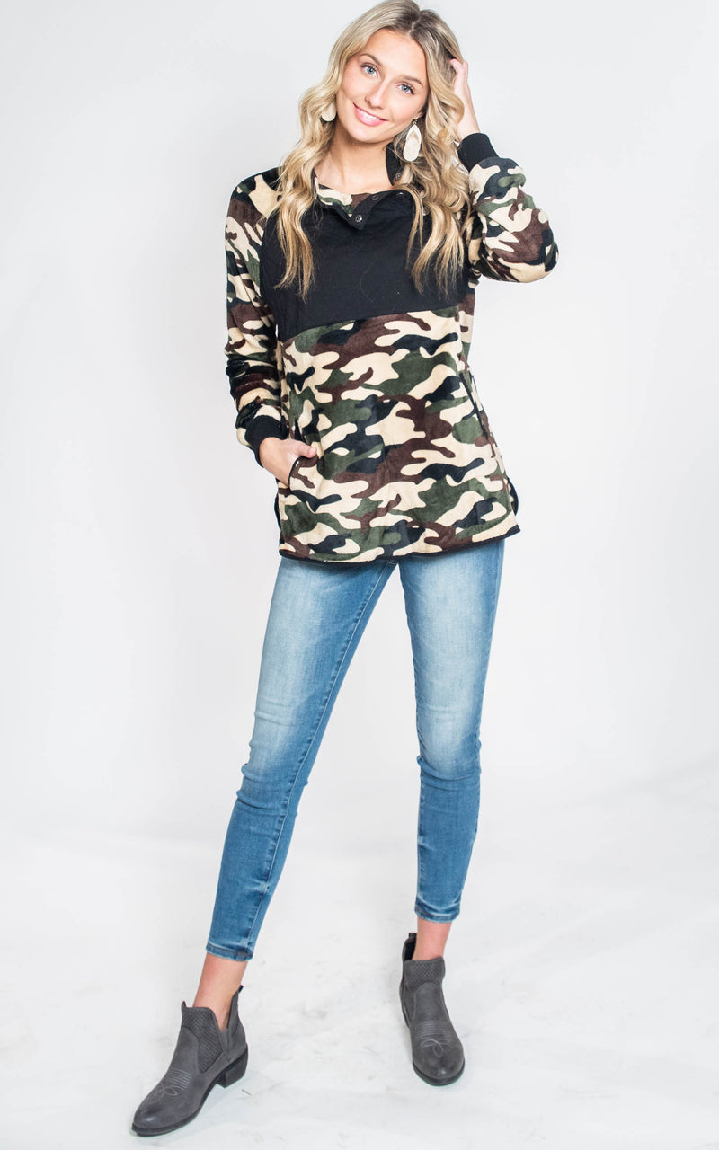 Olive/Brown Camo Fleece Pullover Top- Final Sale, CLOTHING, White Birch, BAD HABIT BOUTIQUE
