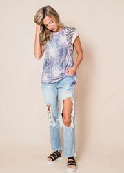 Endless Tie Dye Top with Cheetah, CLOTHING, Lovely Melody, BAD HABIT BOUTIQUE