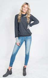Cowl Neck with Stripe Top, CLOTHING, Lovely Melody, BAD HABIT BOUTIQUE