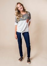 Colorblock Camo Top Tie Front | FINAL SALE, CLOTHING, Lovely Melody, BAD HABIT BOUTIQUE