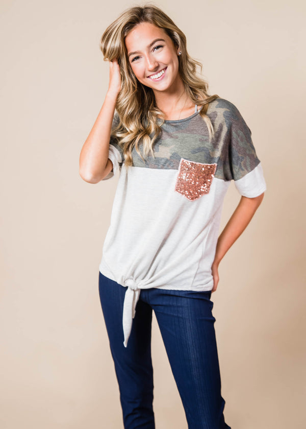 Colorblock Camo Top Tie Front, CLOTHING, Lovely Melody, BAD HABIT BOUTIQUE