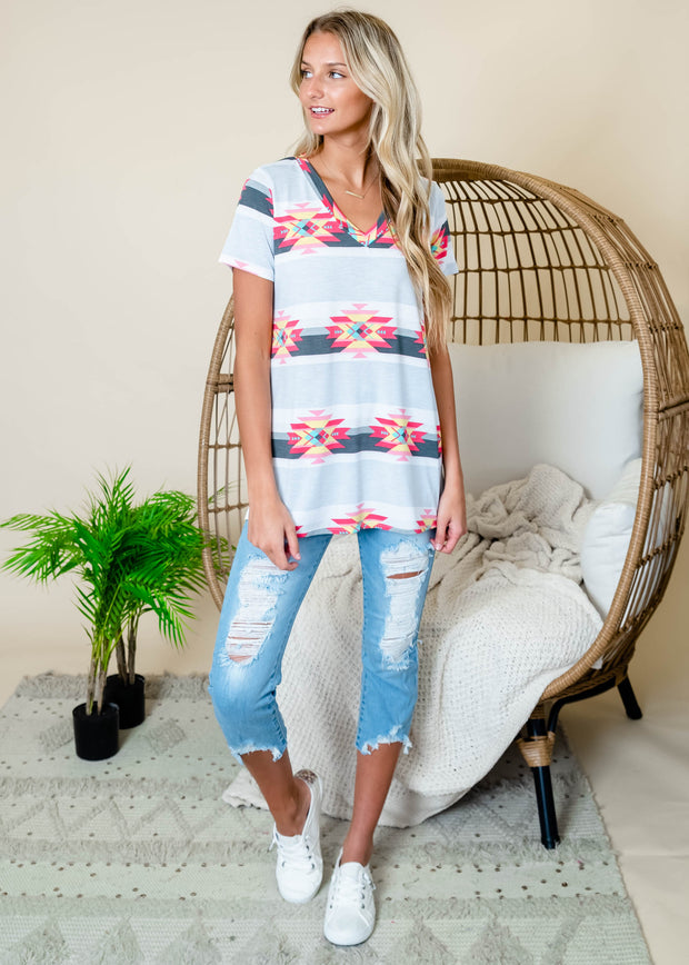 Aztec print striped grey v-neck short sleeve top.   Tops for women, aztec culture, summer outfits