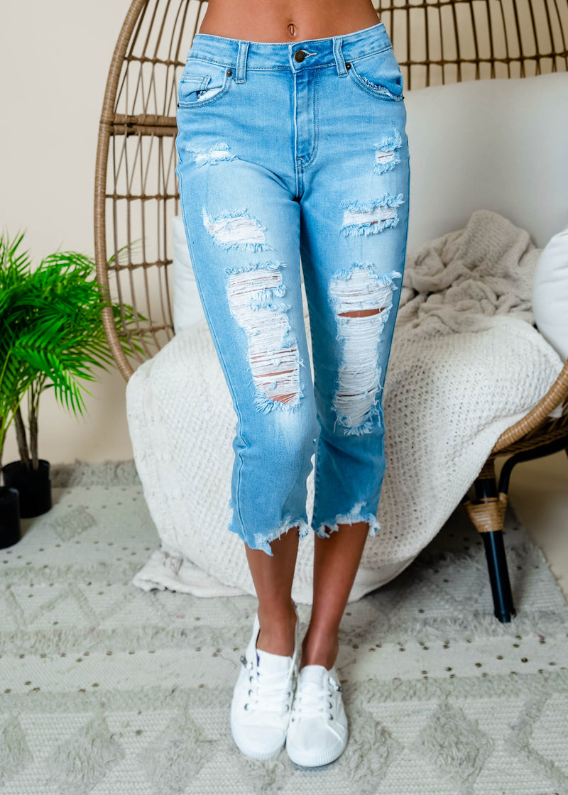 Highwaist Distressed Cropped Jeans, CLOTHING, TwiinSisters Inc., BAD HABIT BOUTIQUE