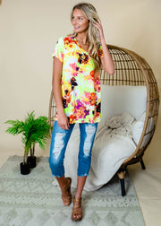 Lime multicolor floral v-neck short sleeve top for women.  Lime green floral top.  Floral tops for Spring.  Floral outfits.