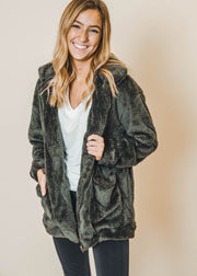 olive fur jacket, faux fur jackets, jackets, coats, double j