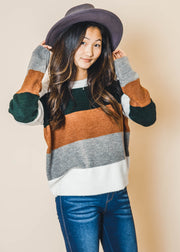 knitted colorblock sweater, color block sweater, andree by unit, sweaters