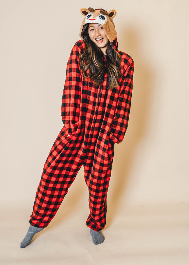 reindeer onesie pajama, buffalo plaid onesie, buffalo plaid pajamas, pjs for women