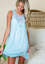 Light blue crochet swim cover up tunic dress.