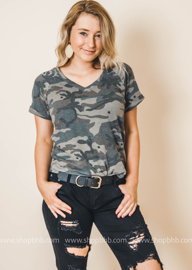camo and stars top short sleeve camouflage