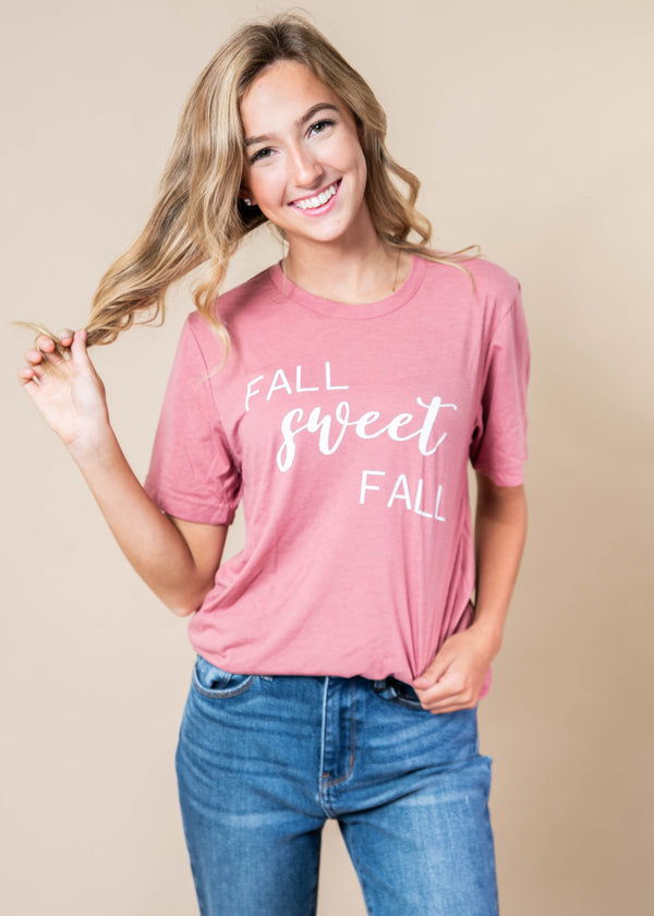 Fall Sweet Fall Tshirt - Mauve - BAD HABIT BOUTIQUE