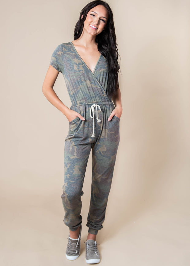 Falling Forward Camo Jumpsuit, CLOTHING, Lovely Melody, BAD HABIT BOUTIQUE