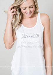 White Paradise defination tank top