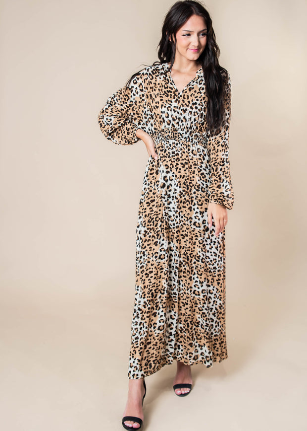 Cheetah Maxi Dress Long Sleeve, CLOTHING, VERVERET, BAD HABIT BOUTIQUE