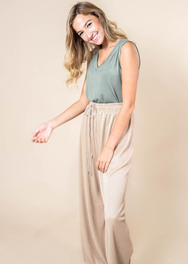 Pleated Drawstring Belted Straight Cut Pants | FINAL SALE, CLOTHING, Superline, BAD HABIT BOUTIQUE