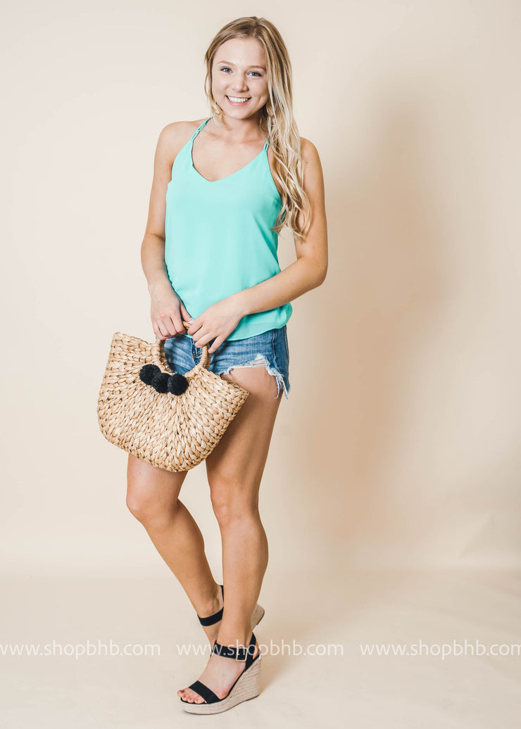 neon color spaghetti strap tank top