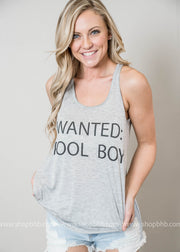 wanted pool boy grey racer back tank top