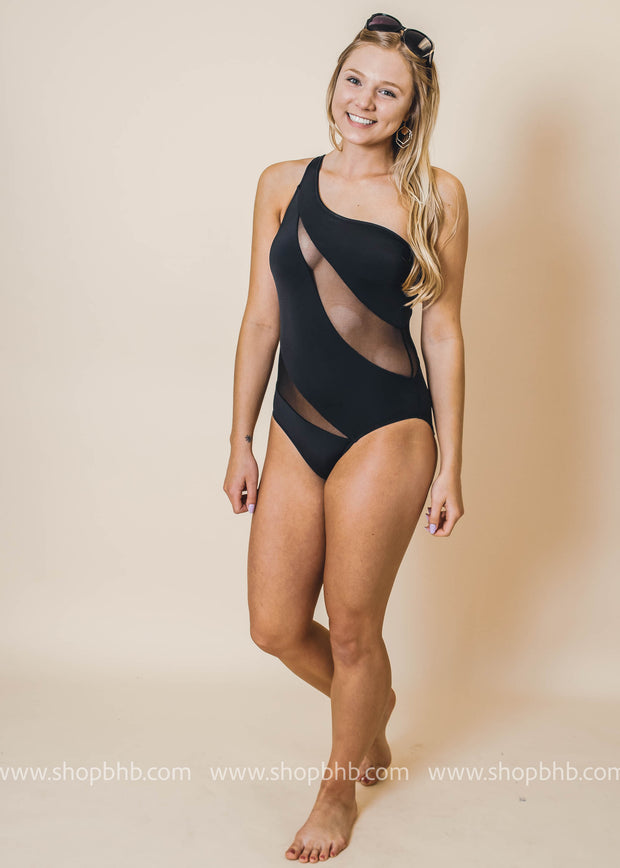 one shoulder mesh swimsuit black