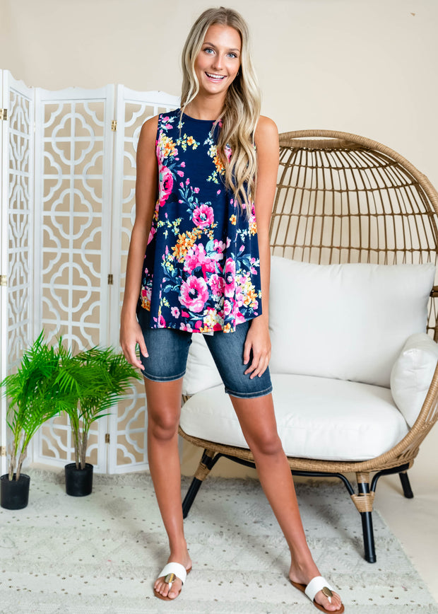 Navy floral tank blouse.