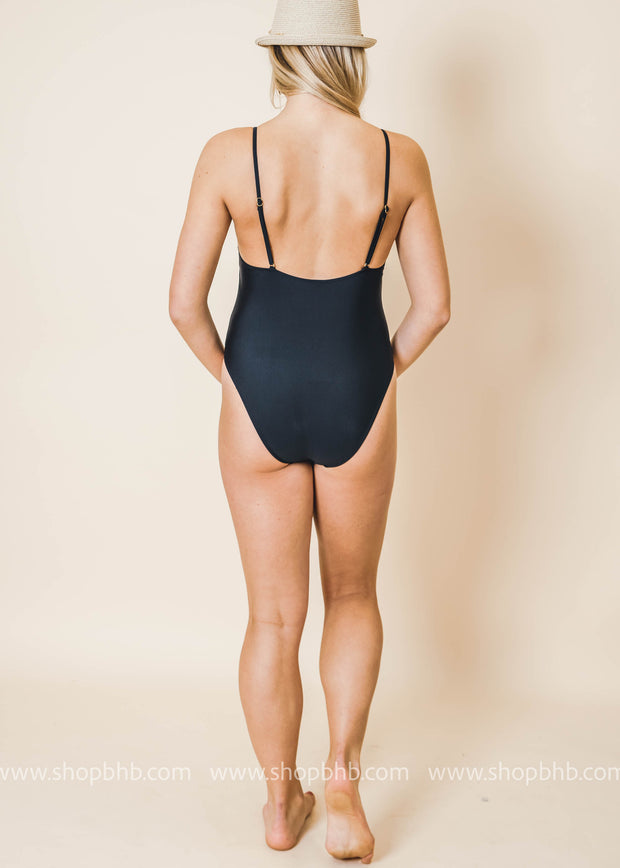 black basic high leg cut one piece swimsuit