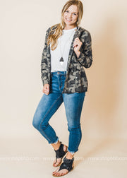Hooded Camo Printed Military Crop Jacket