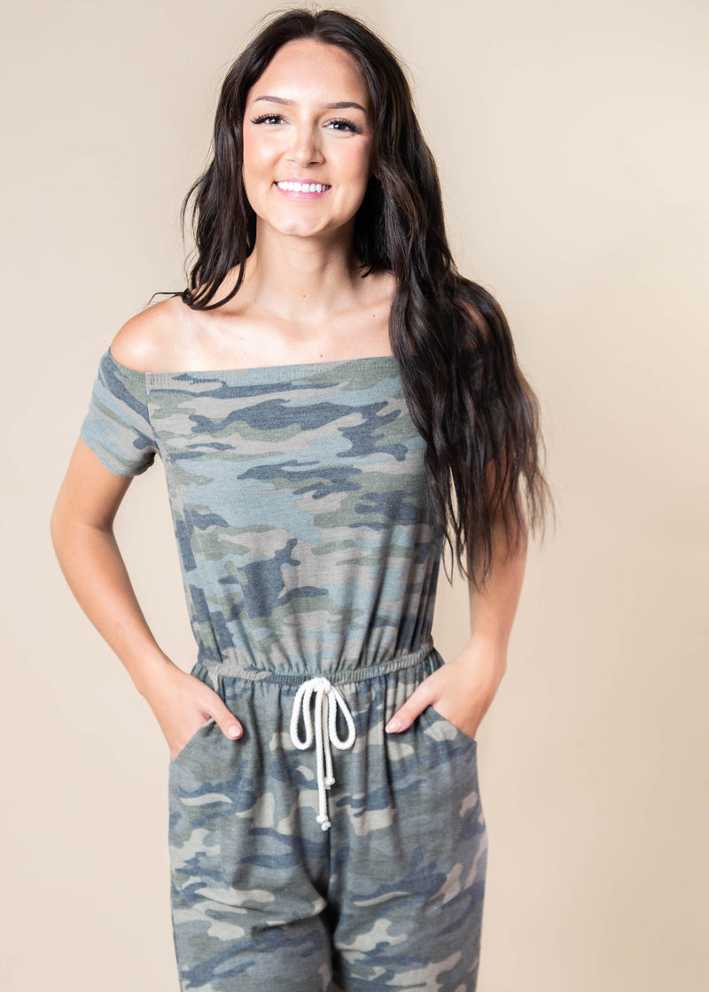 Harper's Camo Off the Shoulder Jumpsuit - Final Sale, CLOTHING, Lovely Melody, BAD HABIT BOUTIQUE