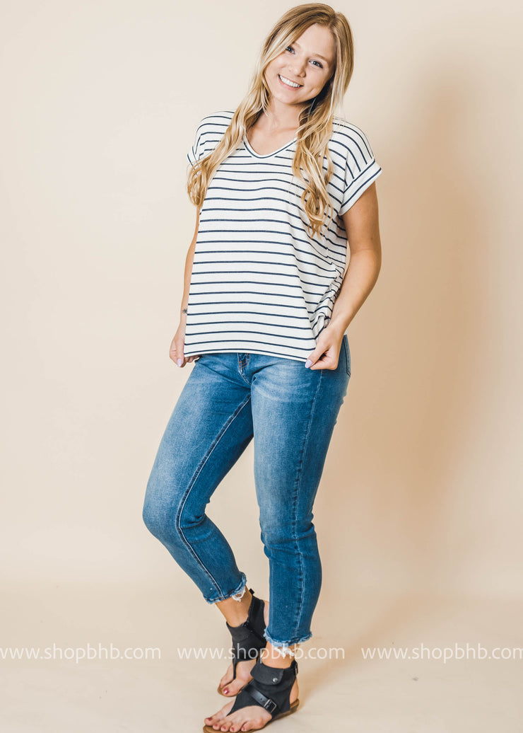 drop shoulder short sleeve white top with navy stripes