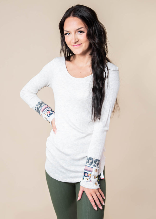 Long Sleeve Top With Cuff Design, CLOTHING, Lovely Melody, BAD HABIT BOUTIQUE