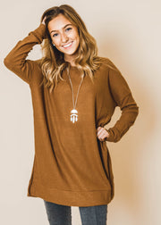 scoop neck waffle knitted tunic