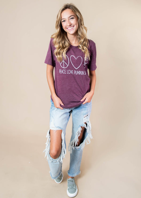 Peace, Love, Pumpkin Spice T-shirt - BAD HABIT BOUTIQUE