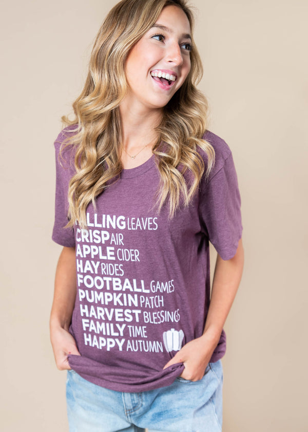 Falling Leaves T-SHIRT-Wine - BAD HABIT BOUTIQUE