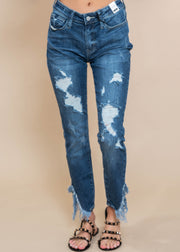 ASYMMETRIC FRAYED HEM SKINNY, CLOTHING, JUDY BLUE, BAD HABIT BOUTIQUE