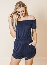 off the shoulder solid romper